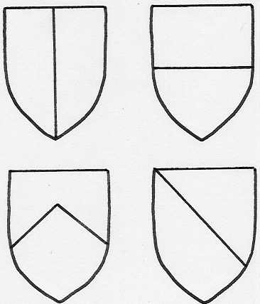 Clockwise from top left - shields divided per pale; per fess; per bend; per chevron
